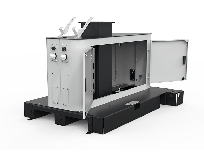 EasyRobotics compact palletizer with opened compartment